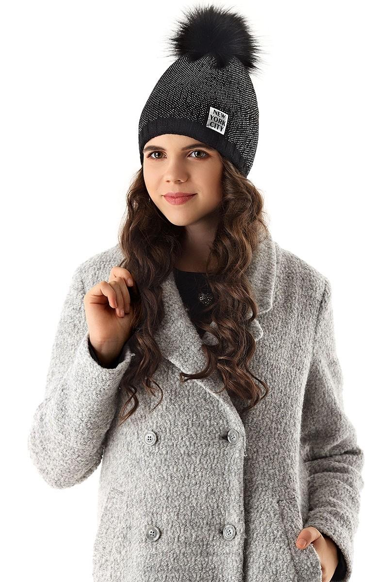6128efcc4 Dievčenská čiapka pletená 3 D čierna