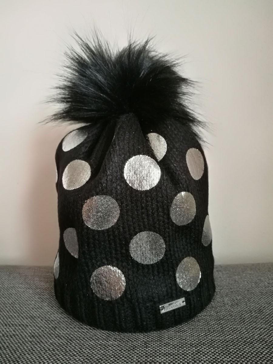 4cb1b631e Dievčenská čiapka pletená 4 D čierna