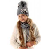 Dievčenská pletená čiapka 107 D s podšívkou šedá