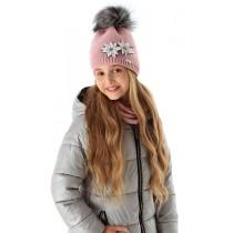 Dievčenská pletená čiapka 109 D s podšívkou ružová
