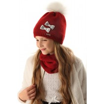 Dievčenská pletená čiapka 118 D s podšívkou červená