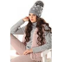 Dievčenská čiapka pletená 4 D šedá