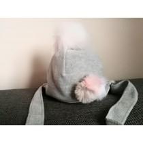 Dievčenská čiapka Pastelové pompóny šedá