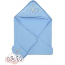 Osuška s rukavičkou modrá