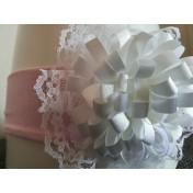 Čelenka Dvojitý kvet ružová s bielym kvetom