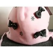 Dievčenská čiapka Snehové vločky ružová