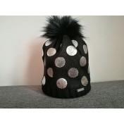 Dievčenská čiapka pletená 4 D čierna