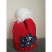 Dievčenská pletená čiapka 105 D s podšívkou červená