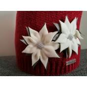 Dievčenská pletená čiapka 109 D s podšívkou červená