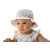 Dievčenský klobúk Biele mašličky